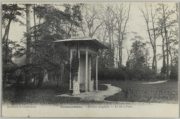 L 39 archer fran ais noble jeu de l arc dans les jardins du for Jardin anglais fontainebleau